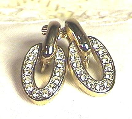 RHINESTONE Open Oval DROP EARRINGS