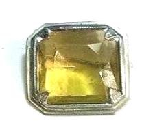 Faux CITRINE SQUARE BROOCH Pin Ca.1900