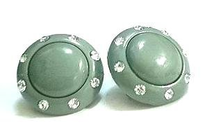 Sage Green PLASTIC & RHINESTONE EARRINGS