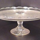 Jeannette Glass HARP Cake Stand with Gold Circa 1950's