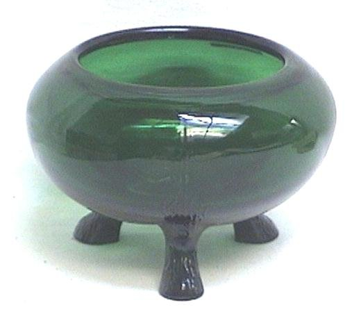 Forest Green Footed Flower Holder Bowl