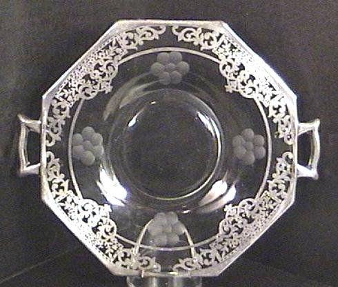 Heisey Wheel Cut Silver Overlay Cheese Dish