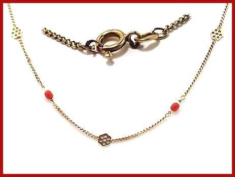 Coral Bead & 18 KT Gold Link Necklace 18kt