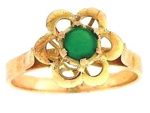 Vintage 18 KT Gold Chrysophrase Ring 18kt Chrysoprase