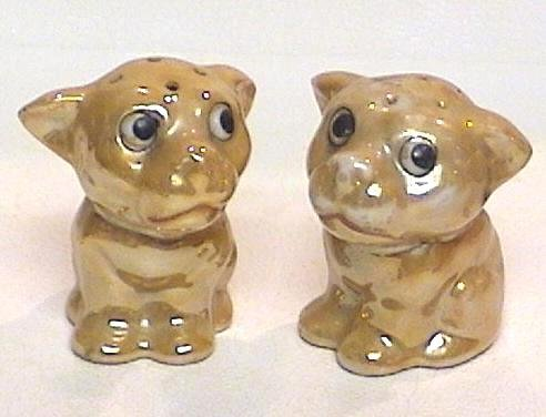 Peach Luster Pups Salt & Pepper Shakers