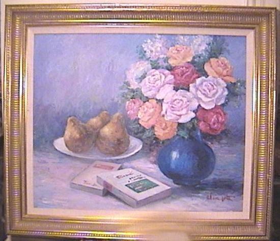 Oil on Canvas Flowers & Fruit Still Life