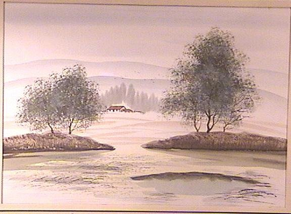 Framed Acrylic Landscape Painting No. II Signed