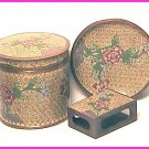 CLOISONNE 3-Piece CIGARETTE SET Boxes ASHTRAY