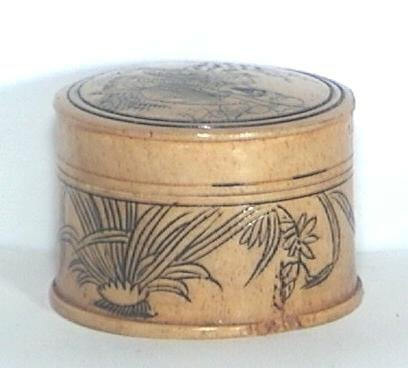 CHINESE Faux IVORY Scrimshaw BOX - Sage w DEER