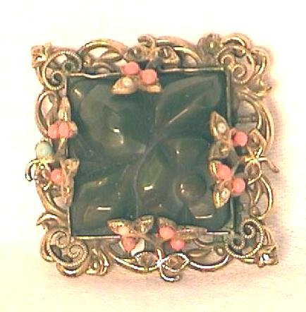 Carved Bakelite Pin Filigree Set with Faux Coral