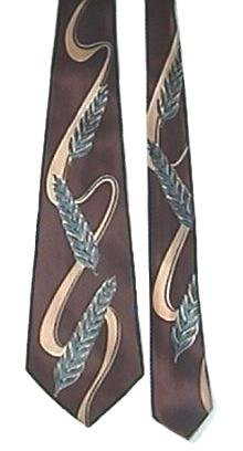 Vintage Silk Necktie with Bold Print Blue and Brown