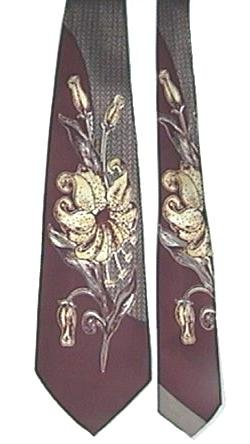 Vintage Bold Floral and Geometric Necktie Maroon and Yellow