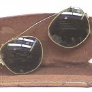 Vintage Clip On Sunglasses with Case Circa 1940 Aviator Style