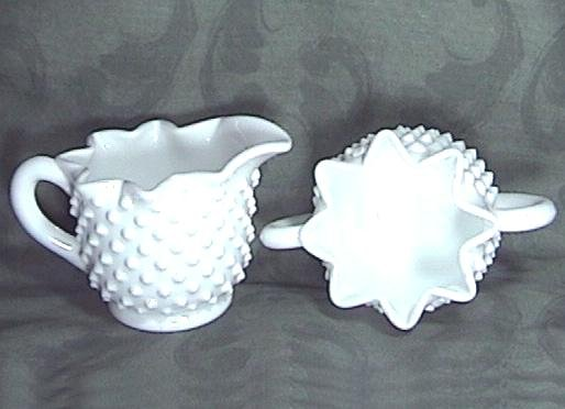 FENTON HOBNAIL STAR Milk Glass CREAMER SUGAR