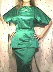 SATIN DRESS With PEPLUM Ca.1950's