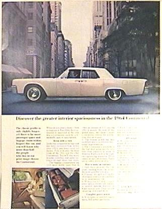 Color LINCOLN CONTINENTAL Magazine AD 1963