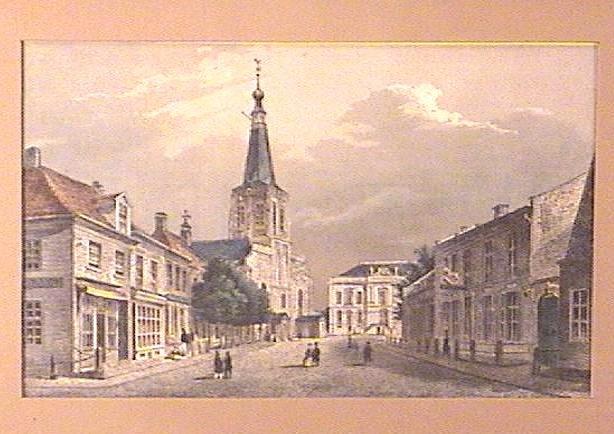 Framed ENGRAVING Ca.1850 STREET SCENE