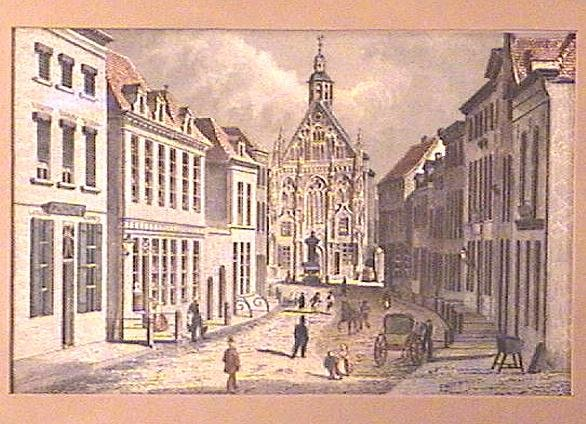 Framed ENGRAVING Ca.1850 GOTHIC CHURCH