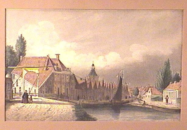Framed Engraving Circa 1850 Village Canal