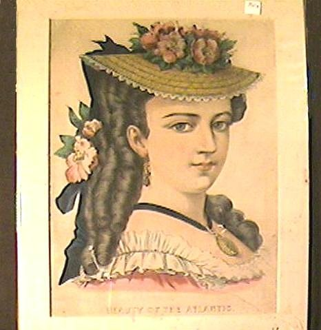Currier & Ives Hand Colored Lithograph Beauty of the Atlantic Portrait