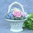 Bisque Porcelain Flower Basket Vintage Cottage Look