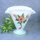 Vintage Hand Painted Fan Vase Crimped Rim