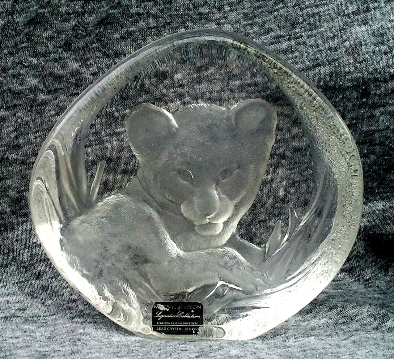 "Lion Cub Crystal 5"" Paperweight Signed Mats Jonasson"