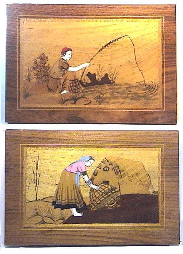Handmade Wood and Ivory Inlay Picture Pair