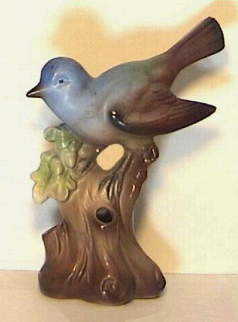 Blue Bird On Stump Flower Arranger made in Germany
