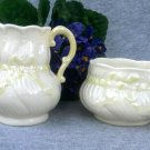 Belleek Porcelain Creamer and Open Sugar Bowl 'Ribbon' 3rd Green Mark