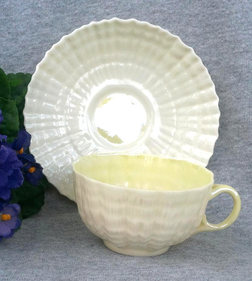 Belleek Porcelain 'Tridacna' Cup and Saucer 3rd Green Mark