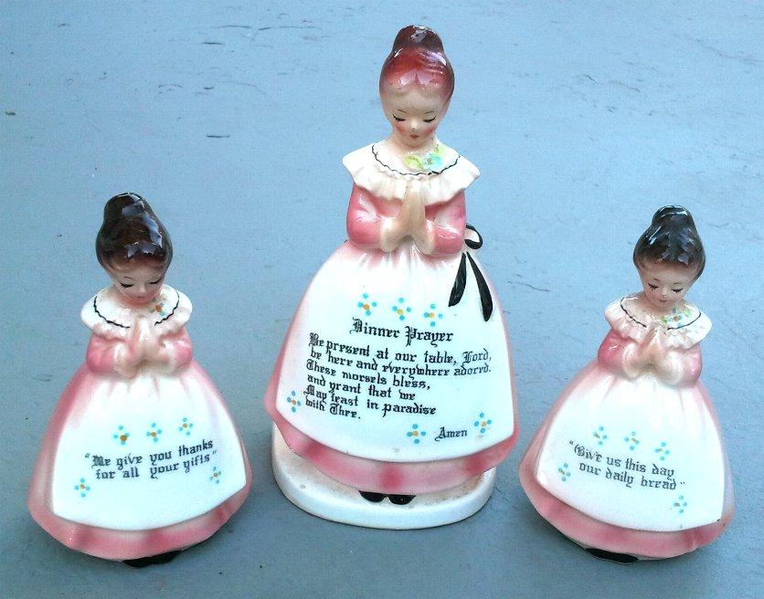 Enesco Prayer Lady 3-Piece Salt Pepper Napkin Holder