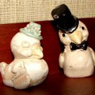 Dressed Up Sparrows Salt Pepper Shakers Circa 1930s Chalk