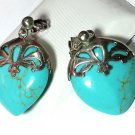 Puffy Heart Turquoise & Sterling Silver Earrings