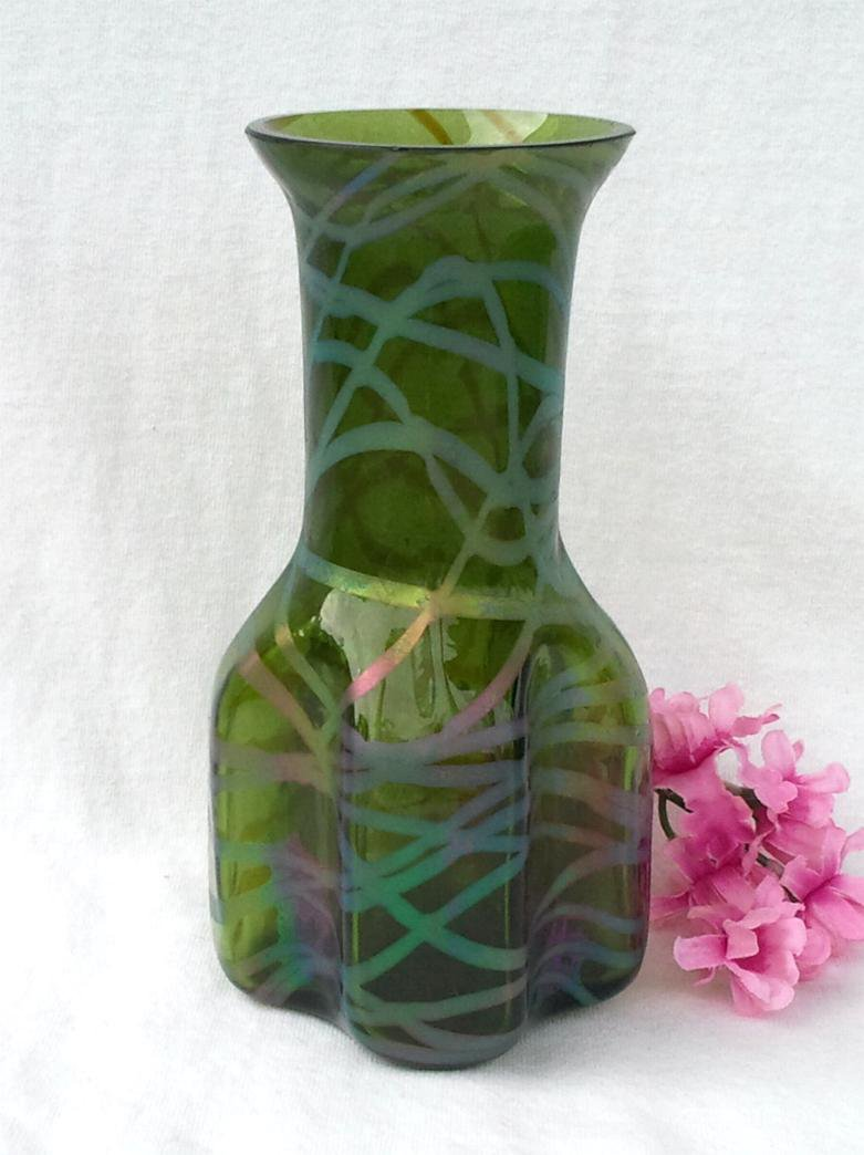 Art Glass Vase with Iridescent Overlay, Hand Blown, Pinched at Base