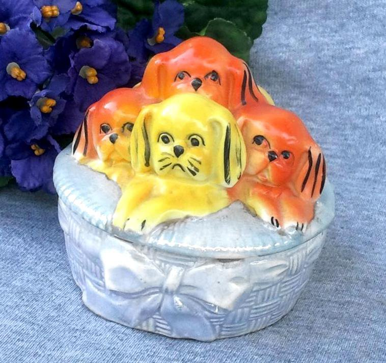 Art Deco Blue Luster Box with Orange and Yellow Puppies Made in Germany