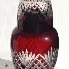 Ruby Bohemian Cut Glass Tumble Up / Water Set