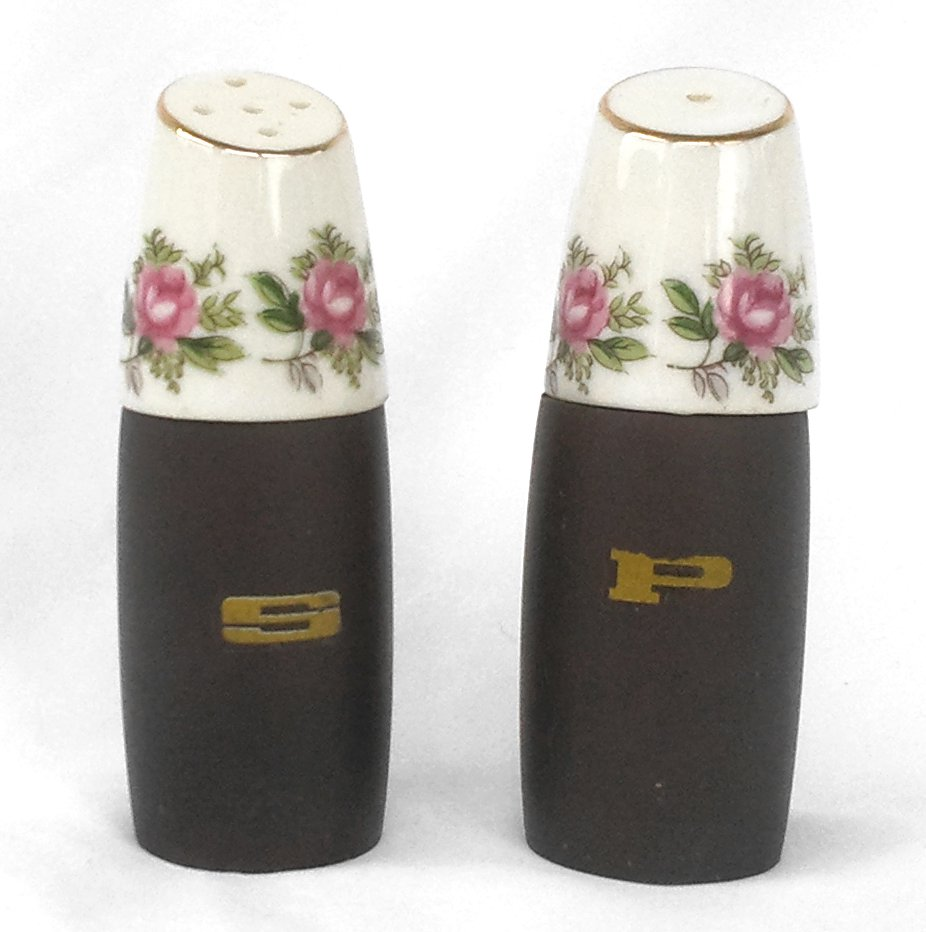 Roses Salt and Pepper Shakers Wood and Bone China
