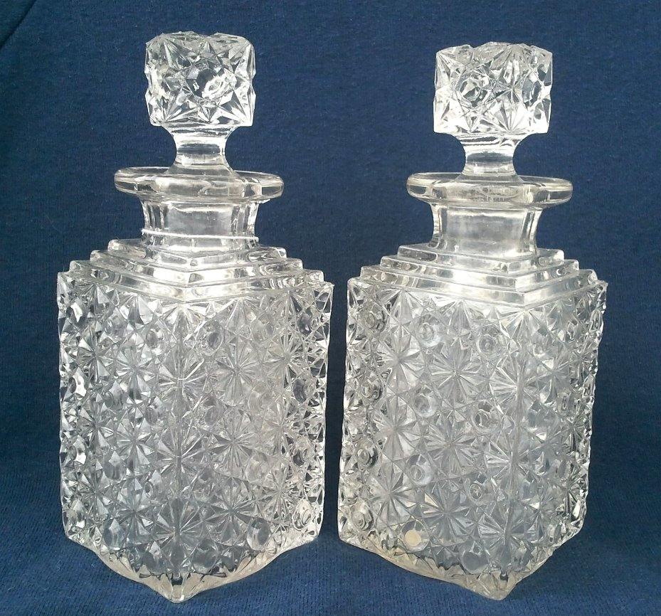 Mold Blown Daisy & Button Square Decanters - Antique Pattern Glass