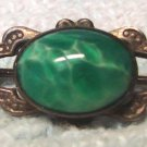 Hanky Pin Circa 1900 Sterling Silver and Green Glass