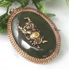 Jade Brooch / Pendant With Buddha in Filigree Setting