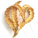 Leafy Stylized Heart Pin / Brooch Goldtone - Vintage