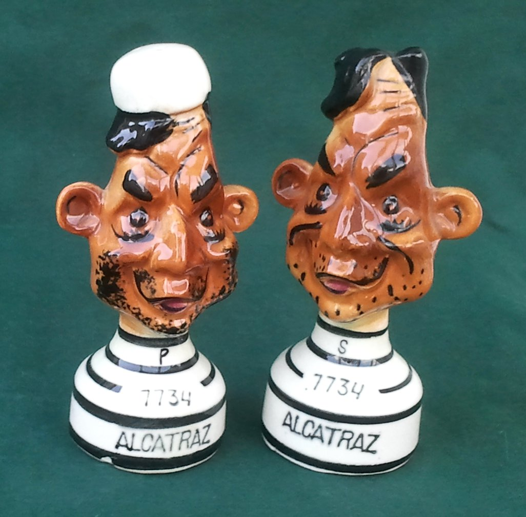 Alcatraz Cartoony Salt & Pepper Shakers Circa 1950s