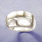 Sterling and Mother of Pearl Inlay Dome Ring