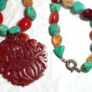 Carved Carnelian Medallion Necklace Gemstone and Sterling
