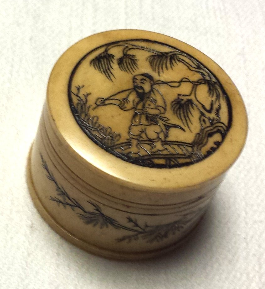 Chinese Faux Ivory Scrimshaw Box Fisherman with Fish