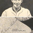 Gabby Hartnett 1933 Autograph On Pen & Ink Drawing Baseball Old Timer Chicago Cubs