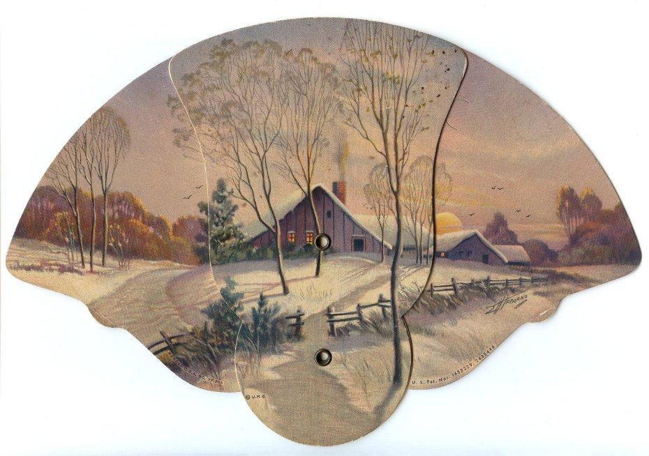 Advertising Paper Fan Winter Scene 1946