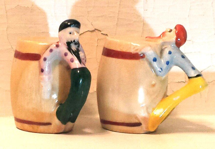 Drunken Hillbillies on Barrels Salt and Pepper Shakers