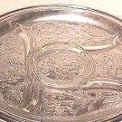 Five Part Depression Glass Rock Crystal Relish with Metal Tray Circa 1930s